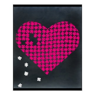 Puzzle Heart Pink 2 Poster