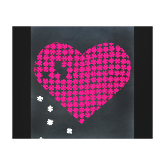 Puzzle Heart Pink 2 Stretched Canvas Print