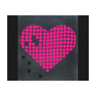 Puzzle Heart Pink Gallery Wrapped Canvas