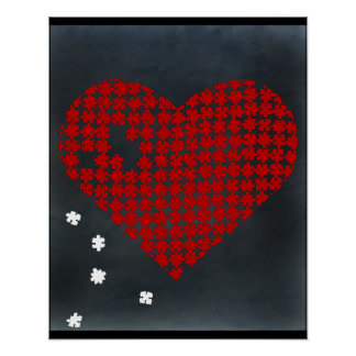 Puzzle Heart Red 2 Poster