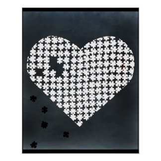 Puzzle Heart White Poster