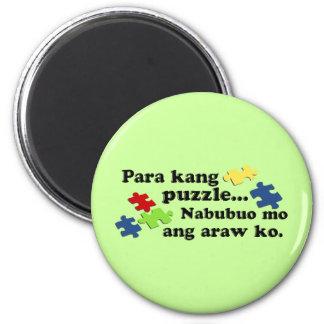 Puzzle Ka Ba? 6 Cm Round Magnet