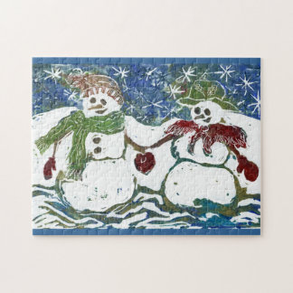 Puzzle of a Snowman Couple  - Block Print in color