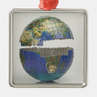 Puzzle of the globe christmas ornament