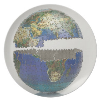 Puzzle of the globe plate