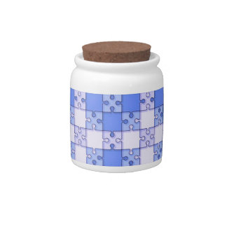 Puzzle Pattern,blue Candy Jars