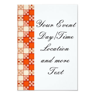 puzzle pattern red 9 cm x 13 cm invitation card