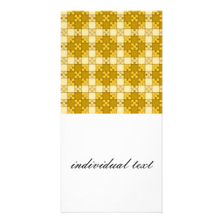 puzzle pattern yellow personalized photo card