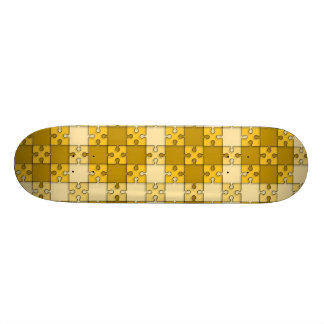 puzzle pattern yellow skate board deck
