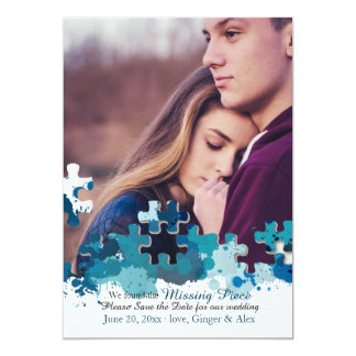 Puzzle Pieces Photo Save the Date Announcement