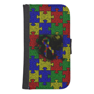 Puzzle Ribbon Grunge Heart Samsung S4 Wallet Case