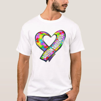 Puzzle Ribbon Heart T-Shirt