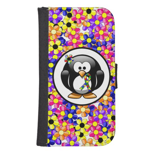 Puzzle Ribbon Penguin Samsung S4 Wallet Case