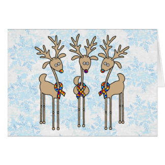 Puzzle Ribbon Reindeer - Autism Awareness Card