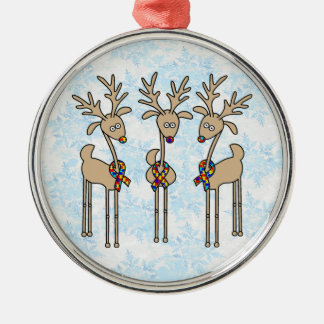 Puzzle Ribbon Reindeer - Autism Awareness Christmas Ornament