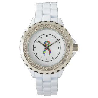 Puzzle Ribbon Support Awareness Wristwatches
