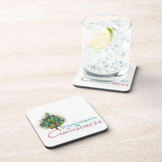 Puzzle Ribbon Xmas Awareness Season Beverage Coasters