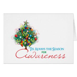 Puzzle Ribbon Xmas Awareness Season Greeting Card