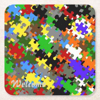 Puzzle Stones Square Paper Coaster