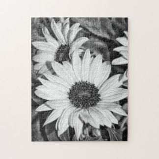 Puzzle - sunflower black-and-white
