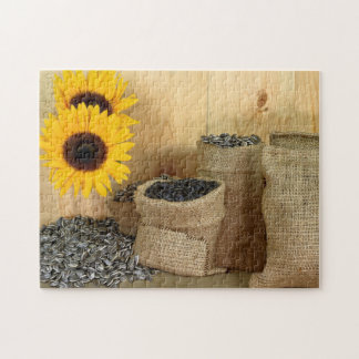 Puzzle Sunflower seeds, burlap bags, wooden table