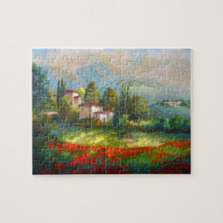 Puzzle with Italian Village and Poppy Fields.