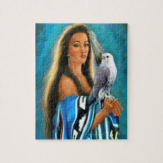 Puzzle with Native American Maiden and Falcon