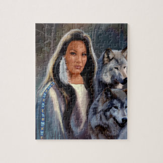 Puzzle with Native American Maiden and Wolfs