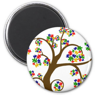 Puzzled Tree of Life 6 Cm Round Magnet