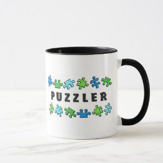 Puzzler with puzzle pieces