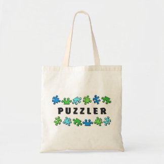 Puzzler with puzzle pieces budget tote bag
