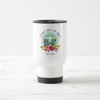 PWOC floral logo travel mug