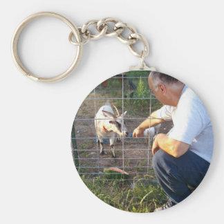 Pygmy goat basic round button key ring