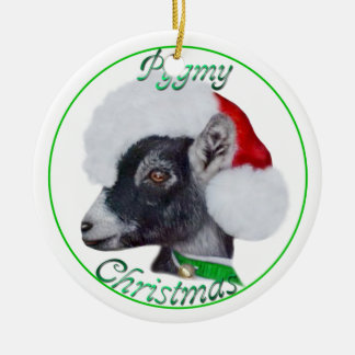 Pygmy Goat in Santa Hat Christmas Ornament
