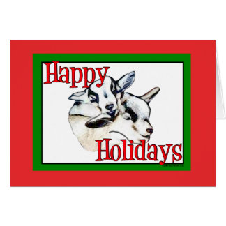 Pygmy Goat Kids Drawing Holiday Christmas Greeting Card