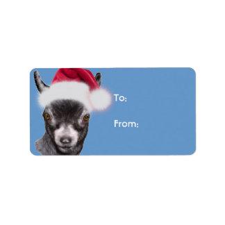 Pygmy Goat  Santa Goat Christmas Gift Tag Address Label