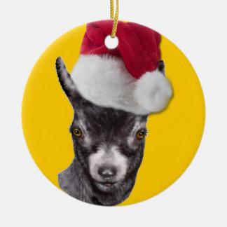 Pygmy Goat Santa Hat Christmas Ornament