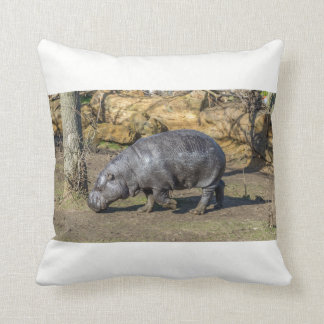 Pygmy hippo at the zoo throw cushion