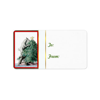 Pygmy in Tree Goat  Christmas Gift Tag Sticker Address Label