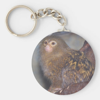 Pygmy Marmoset Portrait Basic Round Button Key Ring