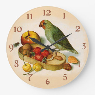 Pygmy Parrot With Fruit and Nuts Large Clock