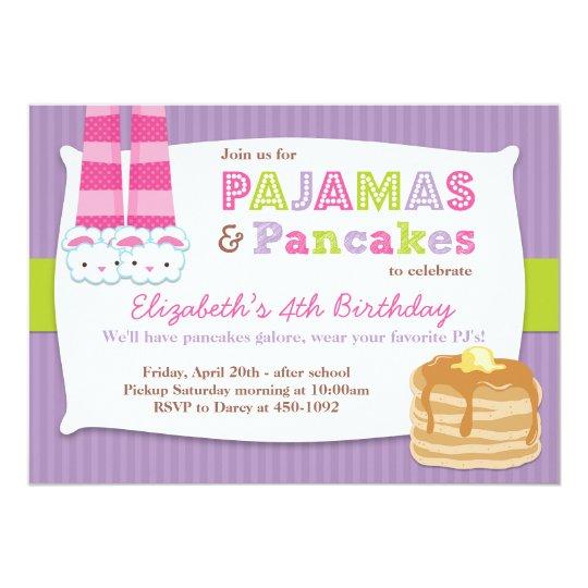 Pyjamas and Pancakes Birthday Party Sleepover Card