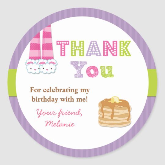 Pyjamas and Pancakes Birthday Party Sticker