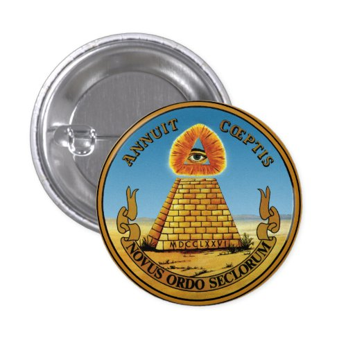 Pyramid and Eye - All Seeing Eye Round Button ~