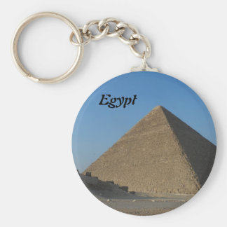 Pyramid at Giza, Egypt Basic Round Button Key Ring