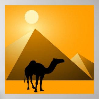 Pyramid & Camel Poster