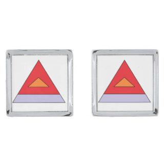 Pyramid cufflinks silver finish cuff links