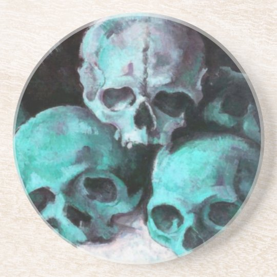 Pyramid of Skulls After Cezanne Beverage Coaster