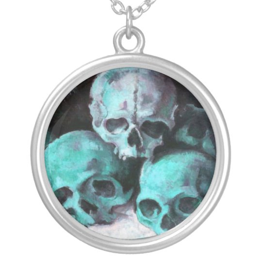 Pyramid of Skulls Silver Plated Necklace
