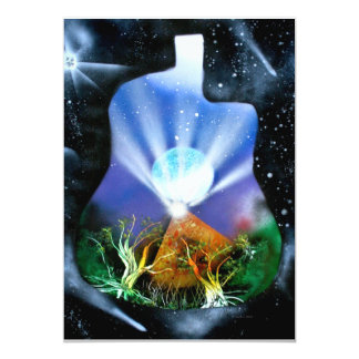 "Pyramid Spray Painting with trees acoustic 5"" X 7"" Invitation Card"